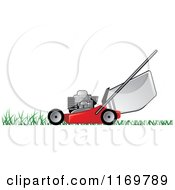 Clipart Of A Red Push Lawn Mower On Grass Royalty Free Vector Illustration