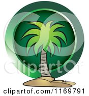 Clipart Of A Palm Tree Over A Green Circle Royalty Free Vector Illustration by Lal Perera