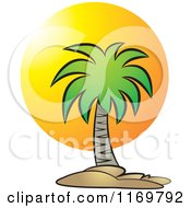 Clipart Of A Palm Tree Over A Sunset Royalty Free Vector Illustration
