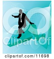 Successful Businessman Riding On A Blue Arrow As Revenue Increases Clipart Illustration