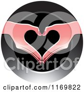 Clipart Of A Round Icon Of Hands Forming A Heart Royalty Free Vector Illustration
