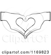 Clipart Of A Pair Of Black And White Hands Forming A Heart Royalty Free Vector Illustration by Lal Perera #COLLC1169823-0106