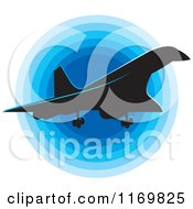 Clipart Of A Silhouetted Concord Airplane And Blue Icon Royalty Free Vector Illustration