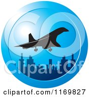 Clipart Of A Silhouetted Concord Airplane And City Icon Royalty Free Vector Illustration