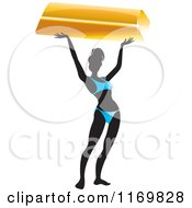 Clipart Of A Silhouetted Bikini Woman Holding Up A Bar Of Gold Royalty Free Vector Illustration