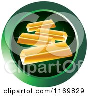Clipart Of A Round Green Gold Bar Icon Royalty Free Vector Illustration