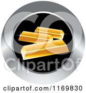 Clipart Of A Round Black And Silver Gold Bar Icon Royalty Free Vector Illustration