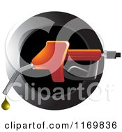 Clipart Of A Round Black Icon With A Red Gas Pump Fuel Nozzle And Droplet Royalty Free Vector Illustration