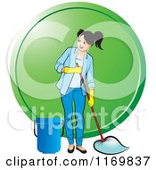 Clipart Of A Happy Woman Mopping Over A Green Circle Royalty Free Vector Illustration