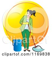 Clipart Of A Happy Woman Mopping Over An Orange Circle Royalty Free Vector Illustration