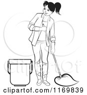 Clipart Of A Black And White Happy Woman Mopping Royalty Free Vector Illustration