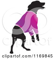 Clipart Of A Silhouetted Dog Wearing A Purple Sweater Royalty Free Vector Illustration