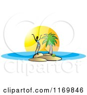 Clipart Of A Silhouetted Woman Holding Her Arms Up On An Island Royalty Free Vector Illustration by Lal Perera