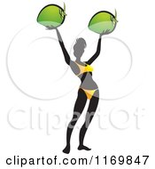 Clipart Of A Silhouetted Woman Wearing A Bikini And Holding Up To Coconuts Royalty Free Vector Illustration by Lal Perera