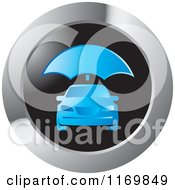 Clipart Of A Round Car Care With Umbrella Icon Royalty Free Vector Illustration