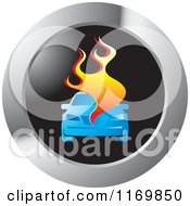 Clipart Of A Round Burning Car Icon Royalty Free Vector Illustration