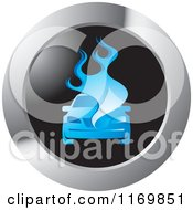 Clipart Of A Round Blue Burning Car Icon Royalty Free Vector Illustration