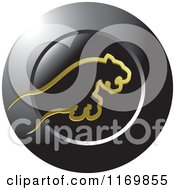 Clipart Of A Leaping Gold Tiger Over A Black Round Icon Royalty Free Vector Illustration by Lal Perera