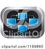 Clipart Of A Rectangle Icon With Blue Networked Computers Royalty Free Vector Illustration