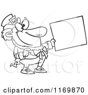 Cartoon Of An Outlined Happy Leprechaun Holding Out A Sign Royalty Free Vector Clipart