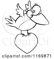 Cartoon Of An Outlined Bird Flying With A Heart Royalty Free Vector Clipart