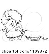 Cartoon Of An Outlined Happy Caveman Dragging A Stone Wheel Royalty Free Vector Clipart