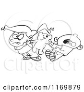 Cartoon Of An Outlined Boy And Girl Quarreling Over Sharing A Teddy Bear Royalty Free Vector Clipart