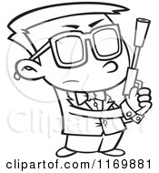 Cartoon Of An Outlined Agent Boy Holding A Pistol Royalty Free Vector Clipart