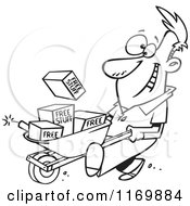 Cartoon Of An Outlined Man Pushing Dynamite And Free Stuff In A Wheelbarrow Royalty Free Vector Clipart by toonaday