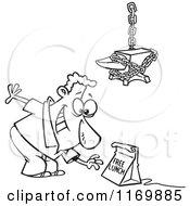 Cartoon Of An Outlined Man Reaching For A Free Lunch Trap Under An Anvil Royalty Free Vector Clipart