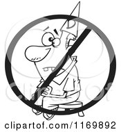 Cartoon Of An Outlined Dunce Man Sitting On A Stool Under A Restricted Symbol Royalty Free Vector Clipart by toonaday