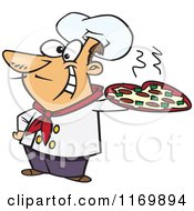 Cartoon Of A Happy Italian Chef Holding A Pizza Pie Royalty Free Vector Clipart by toonaday