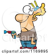 Cartoon Of A Man With Nerf Darts Stuck To His Forehead Royalty Free Vector Clipart by toonaday
