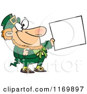 Cartoon Of A Happy St Patricks Day Leprechaun Holding Out A Sign Royalty Free Vector Clipart by Ron Leishman