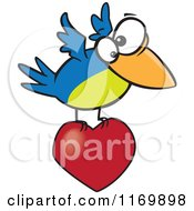 Cartoon Of A Blue And Green Bird Flying With A Heart Royalty Free Vector Clipart