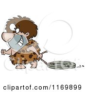 Cartoon Of A Happy Caveman Dragging A Stone Wheel Royalty Free Vector Clipart