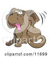 Dog Itching Its Ear With Its Hind Leg Clipart Illustration