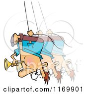 Cartoon Of A Man Swinging Upside Down And Blowing A Horn Royalty Free Vector Clipart