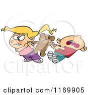 Cartoon Of A Boy And Girl Quarreling Over Sharing A Teddy Bear Royalty Free Vector Clipart by toonaday