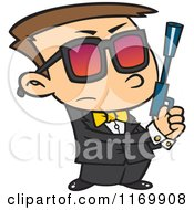 Cartoon Of An Agent Boy Holding A Pistol Royalty Free Vector Clipart by toonaday