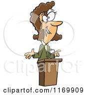 Cartoon Of A Happy Brunette Woman Speaking At A Podium Royalty Free Vector Clipart by Ron Leishman
