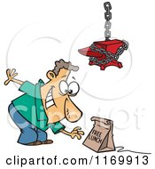 Cartoon Of A Man Reaching For A Free Lunch Trap Under An Anvil Royalty Free Vector Clipart