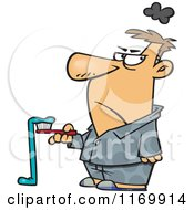 Cartoon Of A Grumpy Man With Bad Toothpaste Hanging Off Of His Brush Royalty Free Vector Clipart by toonaday