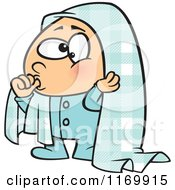 Cartoon Of A Boy Sucking His Thumb And Holding A Blankie Over His Head Royalty Free Vector Clipart