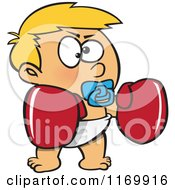 Cartoon Of A Blond Toddler Boy With Boxing Gloves Royalty Free Vector Clipart