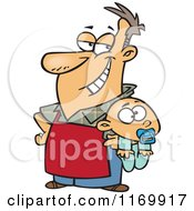 Cartoon Of A Proud Stay At Home Dad Holding A Baby Royalty Free Vector Clipart
