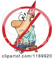 Cartoon Of A Dunce Man Sitting On A Stool Under A Restricted Symbol Royalty Free Vector Clipart by toonaday