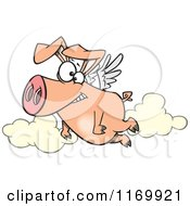 Cartoon Of A Happy Pig Flying Royalty Free Vector Clipart
