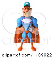 Clipart Of A 3d Super Hero Mechanic In Red And Blue Royalty Free CGI Illustration by Julos