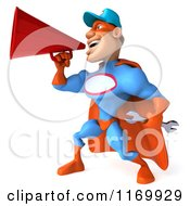 Clipart Of A 3d Super Hero Mechanic In Red And Blue Announcing With A Megaphone Royalty Free CGI Illustration